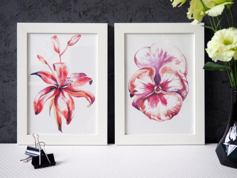 akwarelowe kwiaty + projekt kalendarza